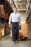 Businessman Pulling Pallet In Warehouse