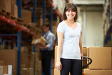 Businesswoman Pulling Pallet In Warehouse