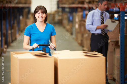 Female Worker Pulling Pallet In Warehouse