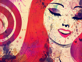 Girl with red hair and closed eyes