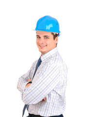 Engineer on white background
