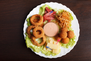Image of crispy flavored snacks on plate
