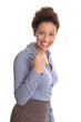 Karrierefrau oder Powerfrau in Rock und Bluse isoliert