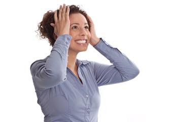 Lachende junge Frau - Einfall oder Idee - isoliert