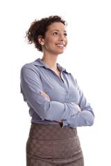 Lächelnde Geschäftsfrau blickt erfolgreich in die Zukunft
