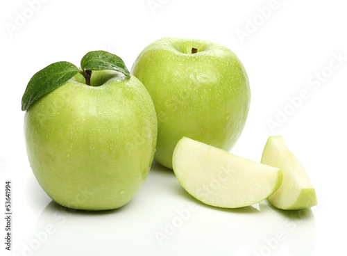 Healthy green apple isolated on white background