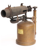 antique blowtorch isolated on white background poster