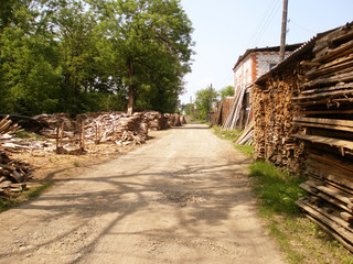 Rural road and firewood