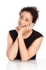 Verträumte junge Frau im Job - Tagträume - freigestellt