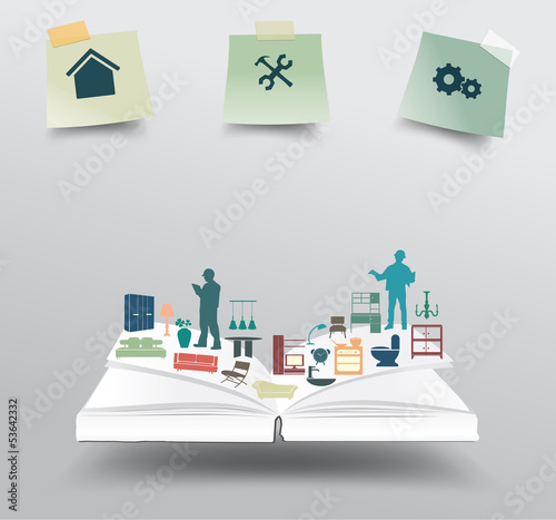 Vector book with home appliances icons