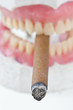 wax denture with cigarette