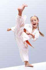 Professional girl does karate kick
