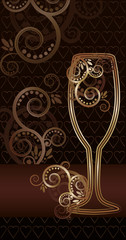 Floral golden Wine glass invitation card, vector