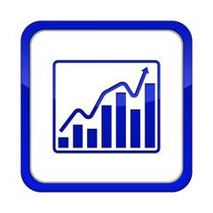 chart button blau weiß quadratisch