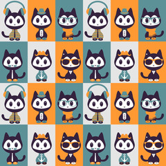 Seamless pattern with kittens in fashionable clothes