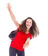 student waving her hand
