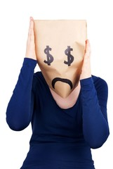 a desperate dollar paper bag head