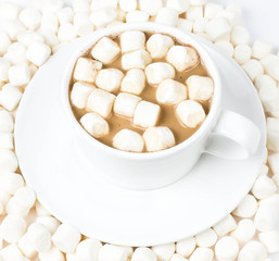 Cup of hot chocolate  with  many plump Fluffy mini marchmallows