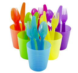 spoon fork cup and bowl Plastic ware with white isolate backgrou