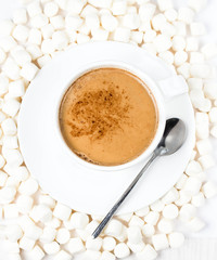 Cup of hot cocoa  with chocolate and marchmallows on white backg