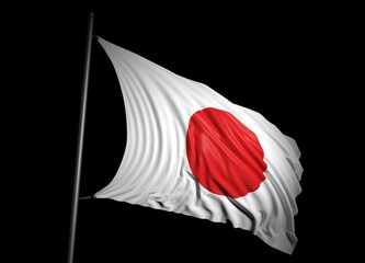 Japanese flag on black background