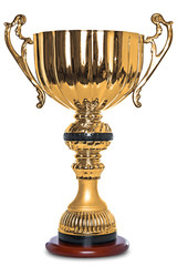 Gold trophy isolated on white clipping path.