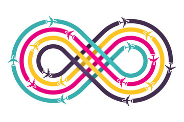 Colorful infinity sign with airplanes. Vector illustration.