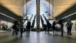 Leinwandbild Motiv Commuters inside Canary Wharf Station in London.