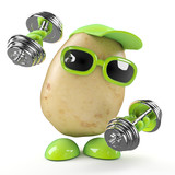 Potato keeps trim lifting weights