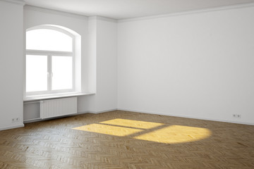 Empty interior with window and radiator