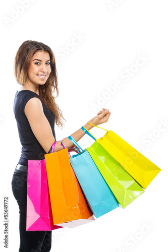 Girl with a lot of shopping bags