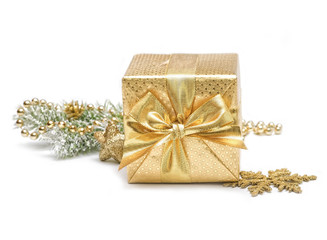 Christmas gift box with christmas decoration