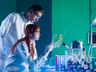 pharmaceutical scientists studying a sample