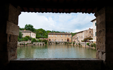 Thermal baths in the medieval village Bagno Vignoni in Tuscany.