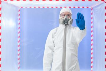 biohazard specialist, stop gesture