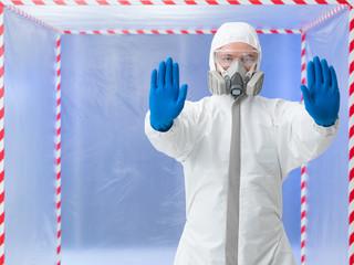 quarantine, specialist with stop gesture