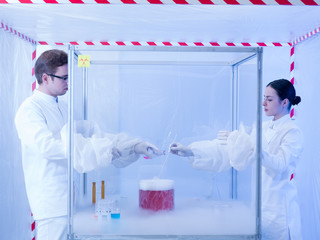 mixing colored substances in the sterile chamber