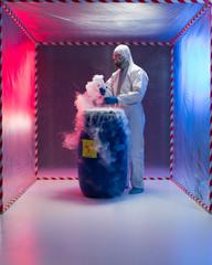 analyzing bio hazardous waste in containment tent