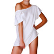 Slim woman in white t-shirt