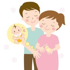 妊婦さんと赤ちゃんとパパ 半袖 夏