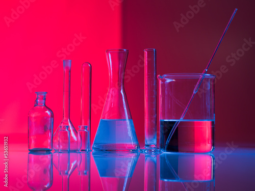 A set of glass labware on table