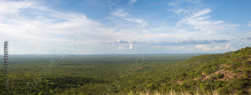 View of the forest, the horizon is Angola