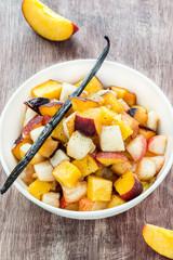 Fresh fruits salad with vanilla