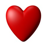 Red Heart with white background, computer generated