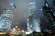 Background night view of Shanghai city landmark buildings