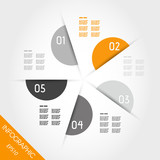 orange infographic circle from semicircles