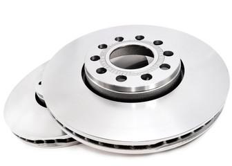 Brake disc on white background