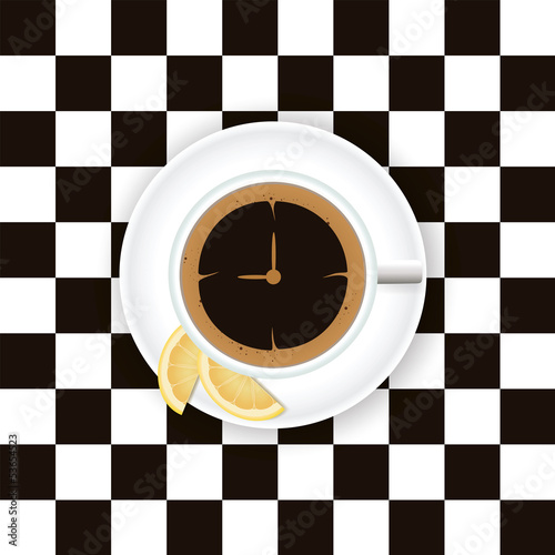 Naklejka na meble A cup of coffee with a lemon on a saucer on a chess board