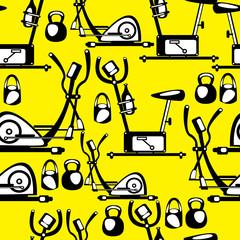 seamless pattern simulators on yellow background