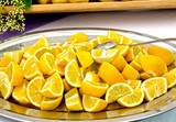Tray with lemons poster